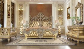 Townsend Traditional Bedroom Set in Rich Gold