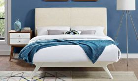 Tracy Modern Bed in White Beige