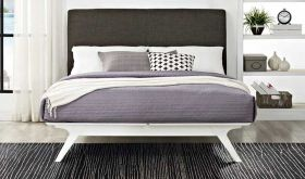 Tracy Modern Bed in White Brown