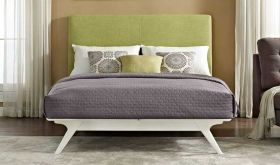 Tracy Modern Bed in White Green