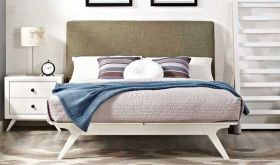 Tracy Modern Bed in White Latte