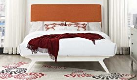 Tracy Modern Bed in White Orange