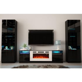 Travelers Modern Electric Fireplace Wall Unit Entertainment Center