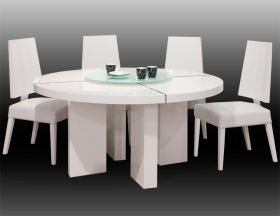 Hanal Modern Dining Room Set in White Lacquer