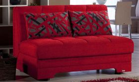 Istikbal Twist Convertible Sleeper Loveseat in Story Red
