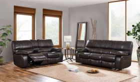 U0040 Leather Living Room Set in Agnes Espresso/Black