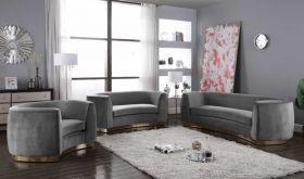 Umbria Contemporary Living Room Set in Gray