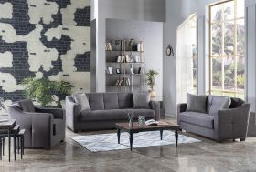 Utah Convertible Living Room Set in Melson Dark Gray