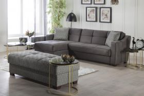Utah Convertible Sectional Sofa in Melson Dark Gray