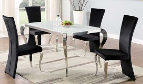 Valdosta Casual Dining Room Set in White/Polished SS & Black