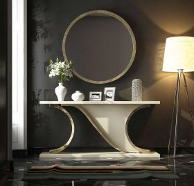 Valencia Modern Console Table in Ivory & Champagne