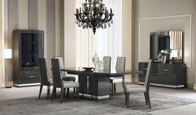 J&M Valentina Modern Dining Room Set in Grey Lacquer & High Gloss Veneer
