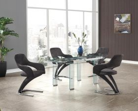 Van Modern Dining Room Set in Clear & Black