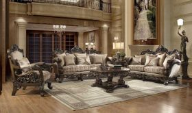 Vance Traditional Living Room Set in Brown Cherry