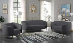 Veneto Contemporary Living Room Set in Gray