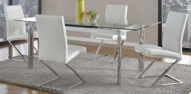 Venice Casual Dining Room Set in Clear/Polished SS & White
