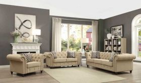 Verde Traditional Living Room Set in Beige