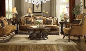Vermont Traditional Living Room Set in Warm Brown