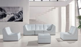 VIG Divani Casa 207 Modern Bonded Leather Sectional Sofa in White