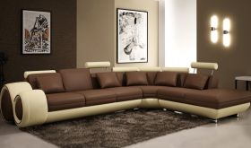 VIG Divani Casa 4086 Modern Bonded Leather Sectional Sofa in Brown & Beige