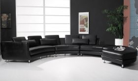 VIG Divani Casa A94 Contemporary Bonded Leather Sectional Sofa & Ottoman in Black