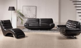 VIG Divani Casa Boco Modern Leather Living Room Set in Black