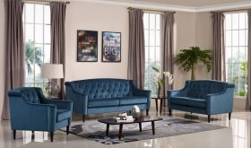 VIG Divani Casa Carly Transitional Velour Living Room Set in Blue - Lifestyle