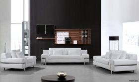 VIG Divani Casa Clef Modern Leather Living Room Set in White
