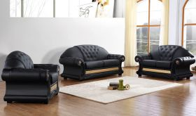 VIG Divani Casa Cleopatra Traditional Leather Living Room Set in Black