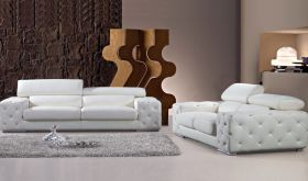 VIG Divani Casa Corinne Modern Tufted Leather Living Room Set with Headrests & Crystals in White