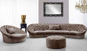 VIG Divani Casa Cosmopolitan Mini Transitional Acrylic Crystal Tufted Fabric Living Room Set in Brown