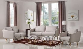 VIG Divani Casa Dakota Modern Fabric Living Room Set in Beige