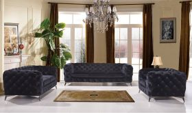 VIG Divani Casa Delilah Modern Fabric Living Room Set in Black