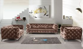 VIG Divani Casa Delilah Modern Fabric Living Room Set in Brown