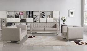 VIG Divani Casa Dominic Modern Fabric Living Room Set in Grey