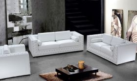 VIG Divani Casa Dublin Modern Leather Living Room Set with Acrylic Crystals in White