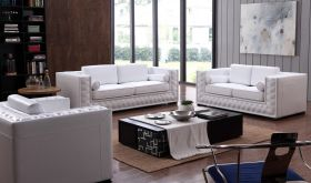 VIG Divani Casa Dublin Modern Leather Living Room Set with Buttons in White