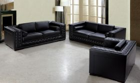 VIG Divani Casa Dublin Modern Tufted Leather Living Room Set in Black