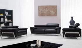 VIG Divani Casa Encore Modern Leather Living Room Set in Black