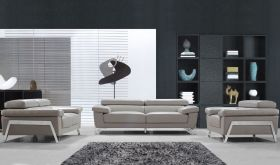 VIG Divani Casa Encore Modern Leather Living Room Set in Grey