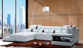 VIG Divani Casa Massimo Contemporary Bonded Leather Sectional Sofa with Light in White