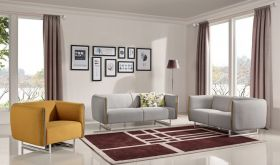VIG Divani Casa Medora Modern Fabric Living Room Set in Grey & Yellow