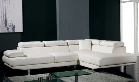VIG Divani Casa T60 Modern Bonded Leather Sectional Sofa in White