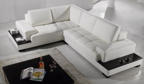 VIG Divani Casa T71 Bonded Leather Sectional Sofa in White