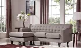 VIG Divani Casa Tawny Modern Fabric Sofa & Ottoman Set in Brown & Grey