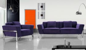 VIG Divani Casa Vogue Modern Fabric Living Room Set in Purple