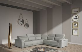 VIG Estro Salotti Palinuro Modern Leather Sectional Sofa with Recliners in Grey