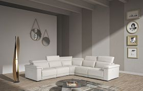 VIG Estro Salotti Palinuro Modern Leather Sectional Sofa with Recliners in White