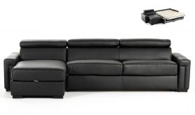 VIG Estro Salotti Sacha Modern Leather Reversible Sofa Bed Sectional with Storage in Black