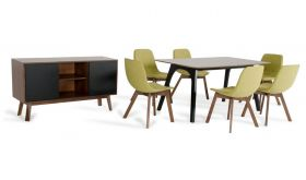 VIG Modrest Laken Modern Dining Room Set in Walnut & Green Tea